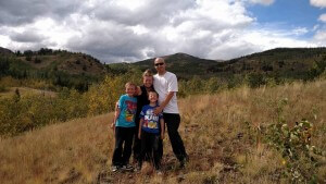 family pose hiking